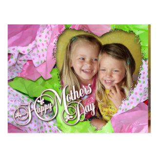 Postal Día de madres del corazón del tejido