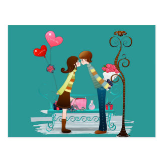 Postal Día de San Valentín que se besa del novio y de la