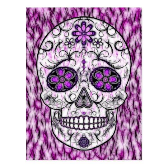 Postal Día del cráneo muerto del azúcar - rosado y de la