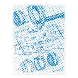 Postal Diagrama estallado del eje (azul)