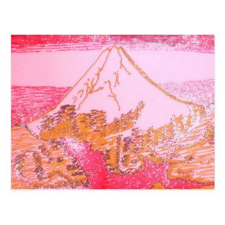 Postal Dibujo amarillo rojo del monte Fuji Japón de la