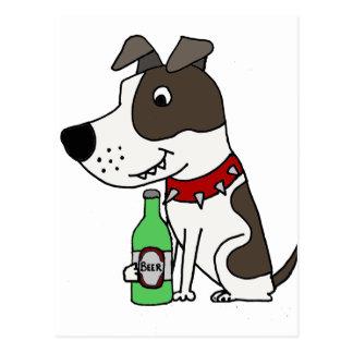 Postal Dibujo animado de consumición de la cerveza del