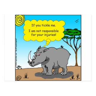Postal dibujo animado de las cosquillas del rinoceronte