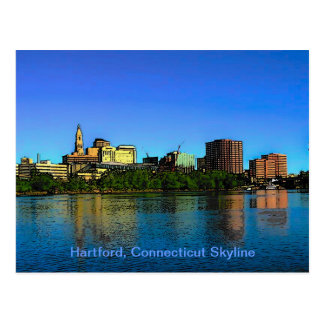 Postal Dibujo animado del horizonte de Hartford