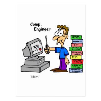 Postal Dibujo animado del ingeniero informático