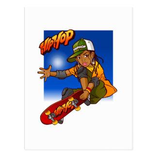 Postal Dibujo animado del monopatín del chica de Hip Hop