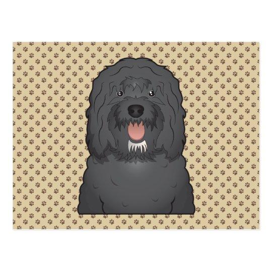 Postal Dibujo animado del perro de aguas