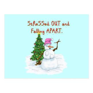 Postal Dibujo animado divertido del navidad del muñeco de