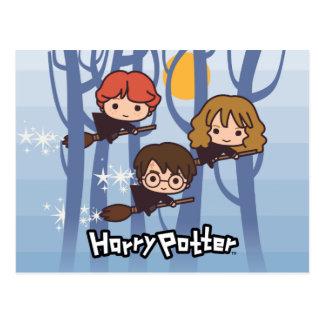 Postal Dibujo animado Harry, Ron, y vuelo de Hermione en