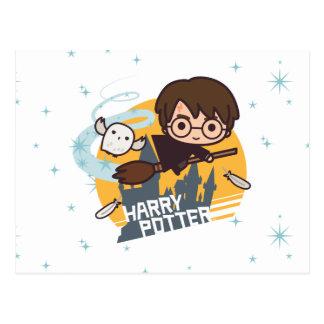 Postal Dibujo animado Harry y vuelo de Hedwig más allá de