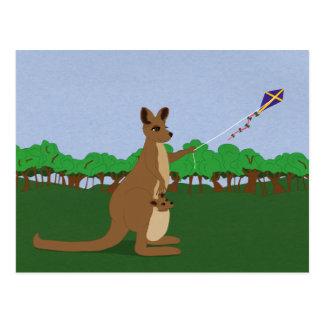 Postal Dibujo animado KangaROOS que vuela una cometa