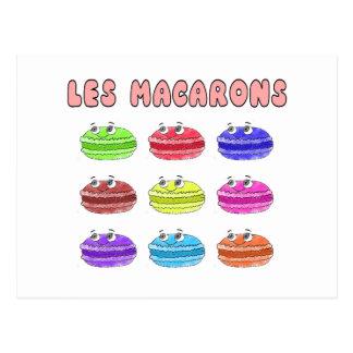 Postal Dibujo animado lindo de Les Macarons