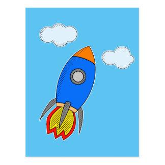 Postal Dibujo animado Rocket en cielo azul