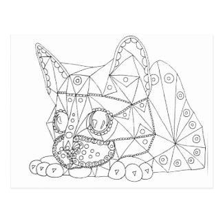 Postal Dibujo del gato plausible para colorear