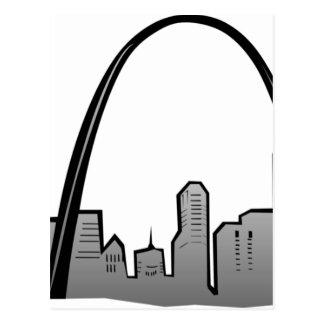 Postal Dibujo del horizonte de St. Louis