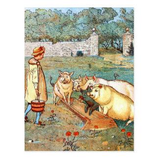Postal Dibujo del vintage: Alimentación de los cerdos