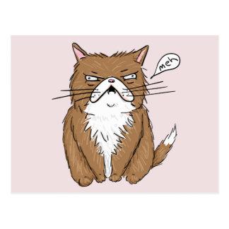 Postal Dibujo gruñón divertido del gato de Meh