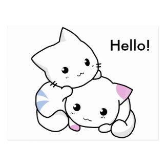 Postal Dibujo lindo del gatito del muchacho y del chica