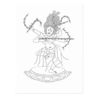 Postal Dibujo lineal de Kurukulla [postal]