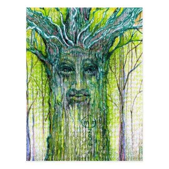 Postal Dibujo verde del alcohol del árbol
