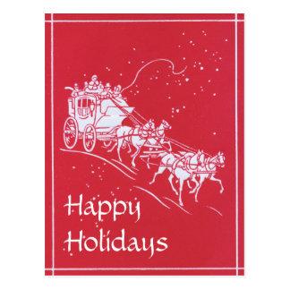 Postal Diligencia del navidad en rojo y blanco