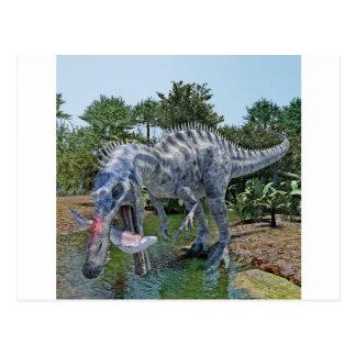 Postal Dinosaurio de Suchomimus que come un tiburón en un