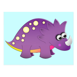 Postal Dinosaurio lindo del dibujo animado