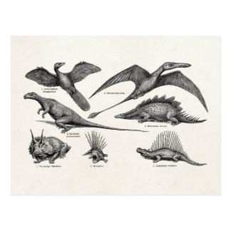 Postal Dinosaurios retros del ejemplo del dinosaurio del