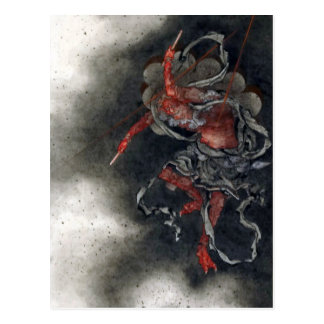 """Postal """"Dios del trueno"""" por Hokusai"""