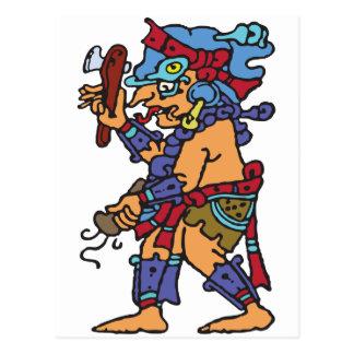 Postal Dios maya de la lluvia coloreado