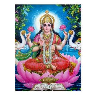 Postal Diosa de Lakshmi del amor, de la prosperidad, y de