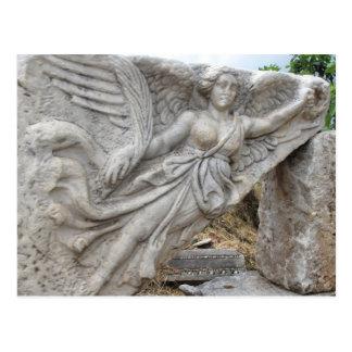 Postal Diosa griega Nike en Ephesus, Turquía