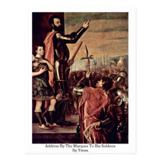 Postal Dirección por las marcas a sus soldados por Titian