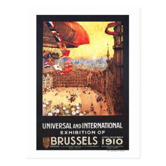 Postal Dirigible de Lebaudy con las banderas del mundo en