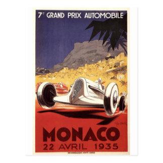 Postal Diseño 1935 del poster de Mónaco Grand Prix