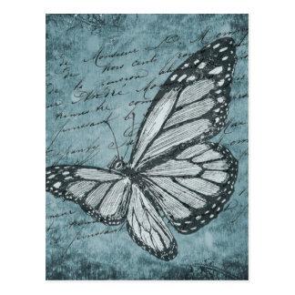 Postal Diseño azul de la caligrafía de la mariposa del