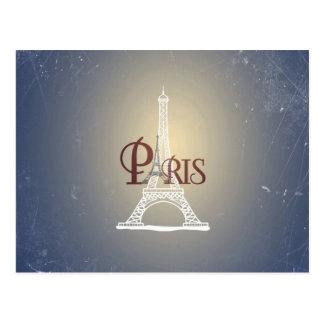 Postal Diseño azul de París de la torre Eiffel del