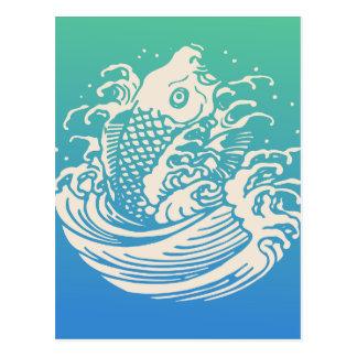 Postal Diseño azul del vintage del arte de los pescados