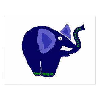 Postal Diseño azul lindo del arte del elefante