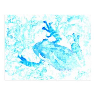 Postal diseño blanco azul invertido del animal de musgo