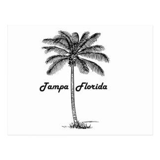 Postal Diseño blanco y negro de Tampa y de la palma