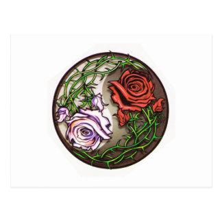 Postal Diseño color de rosa del tatuaje del yingyang