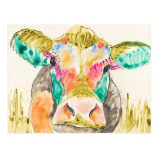 Postal Diseño colorido de la vaca