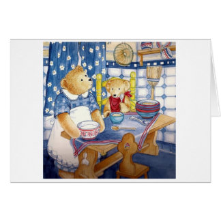 """Postal diseño de acuarela """"osito de peluche desayu tarjeta de felicitación"""