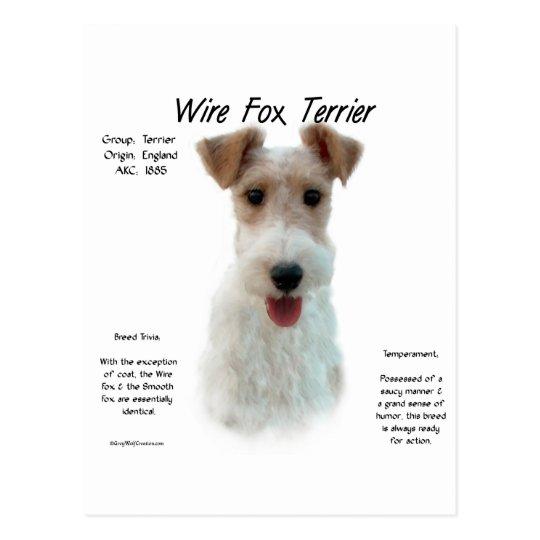 Postal Diseño de la historia del fox terrier del alambre