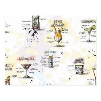 Postal Diseño de la receta de la bebida del cóctel