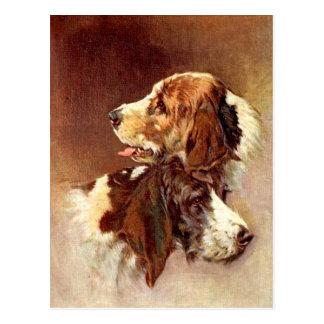 Postal Diseño del arte del vintage de los perros del