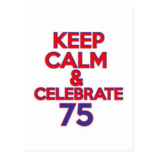 Postal diseño del cumpleaños de 75 años