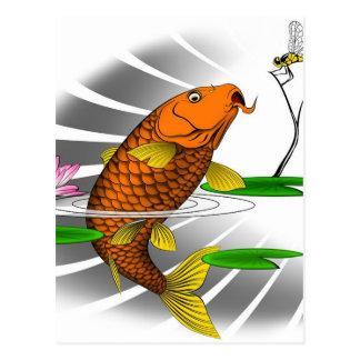 Postal Diseño del estanque de peces de Koi del japonés