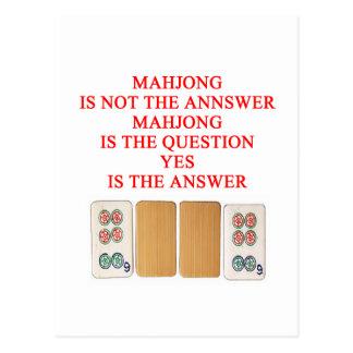 Postal diseño del jugador del mahjong